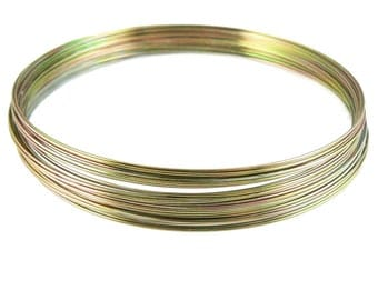 3.6 inch variegated gold stainless steel necklace memory wire, 12 loops