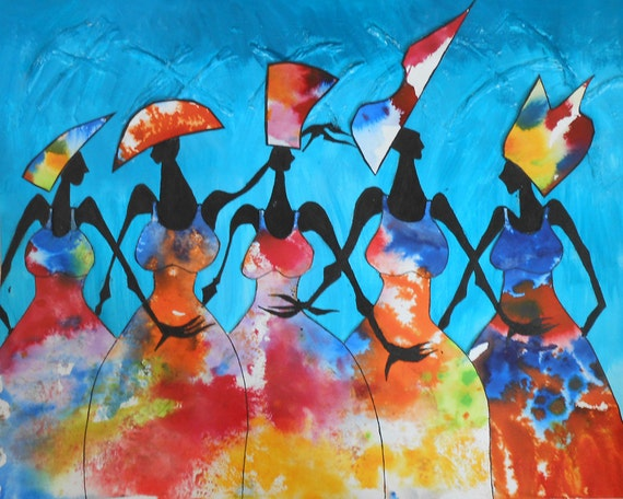 """HATS, HATS, HATS - ooak- 19""""x15"""" (50cmx40cm) Spectacularly vibrant colours, movement and style showing the charisma of African dance."""