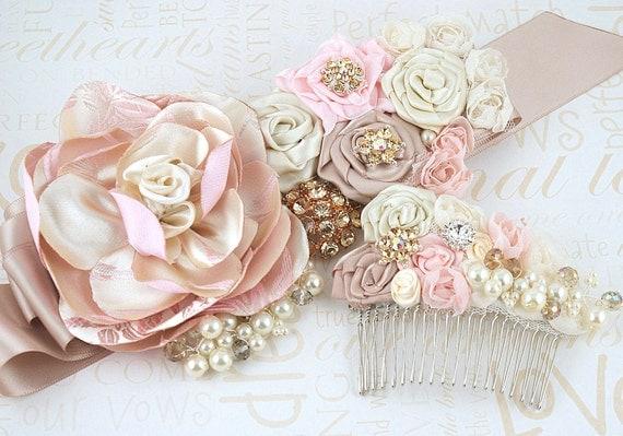 Sash, Bridal, Wedding,Bridal, Champagne, Gold, Tan, Beige, Pink, Pearls, Crystals, Brooch, Satin, Elegant, Vintage Inspired