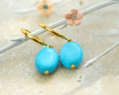 Turquoise earrings,  turquoise gold, turquoise jewellery, turquoise jewelry, Gold turquoise earrings, Blue Turquoise earrings
