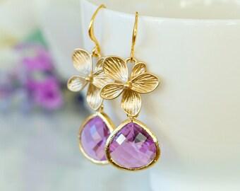 Purple earrings, Purple jewelry, Purple wedding theme, Bridesmaids earrings, Lavender earrings, Lilac jewelry, February birthstone earrings