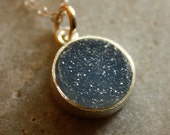 Black and Charcoal Grey Agate Druzy Necklace - Stardust Sparkles - Small Bezel Necklace, Sterling Silver