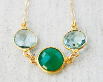 Green Onyx and Aqua Quartz Necklace - Tri-Stone Necklace - 14KT Gold Fill