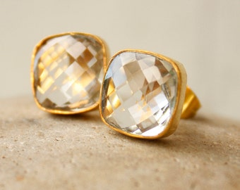 Gold Crystal Quartz Square Stud Earrings - Post Setting - Classic Bride