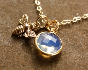 Gold October Opalite and Honey Bee Charm Necklace - October Birthstone Necklace