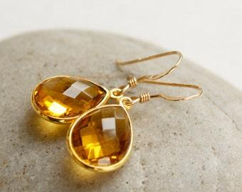 Gold November Citrine Gemstone Earrings - November Birthstone - Honey Drops