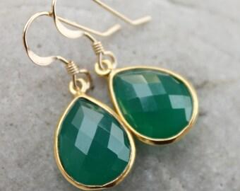 Simple Green Onyx Teardrop Earrings - Gemstone Earrings - Emerald Green