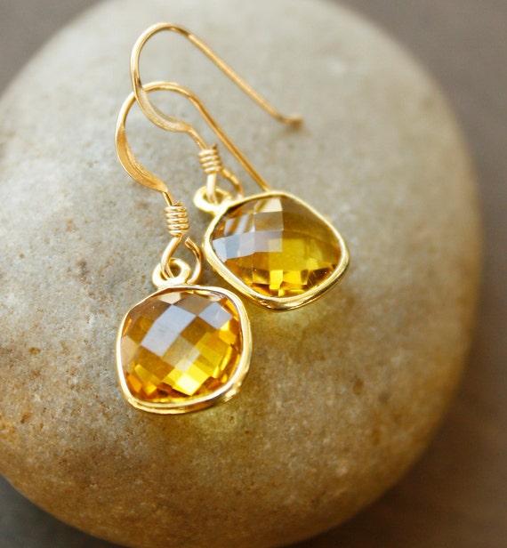 Gold Citrine Quartz Earrings - Honey Drops - Sunny Yellow, Versatile