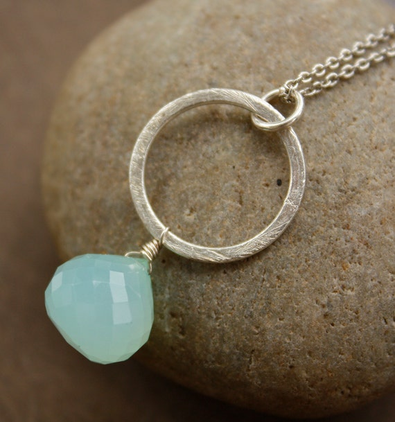 SALE - Sea Green Chalcedony Necklace - Aqua Blue, Mint - Marked Down