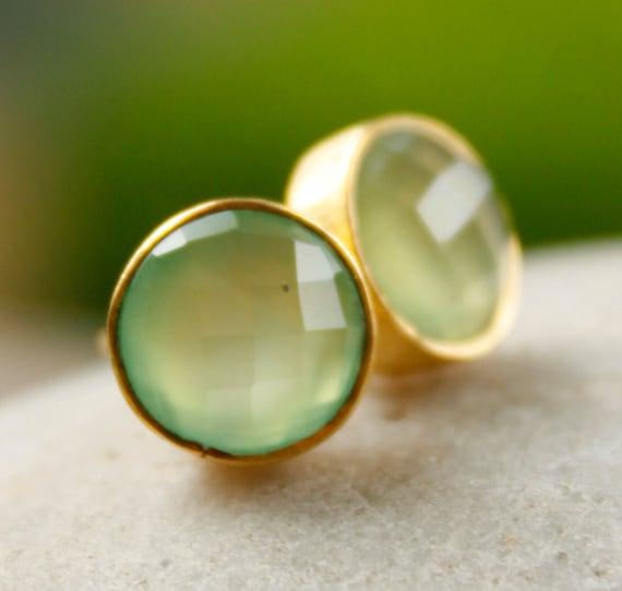 Gold Green Chalcedony Studs - Green Stone Post Earrings - Honey Dew