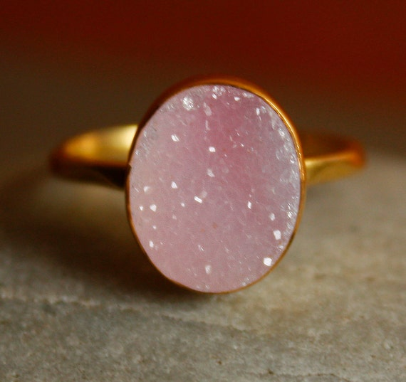 Gold Pink Agate Druzy Ring - Oval Stone Ring - Bubble Gum Pink, AAA quality