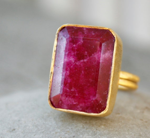 Red Ruby Ring - Square Cut - Adjustable Ring, Juicy Cranberry