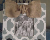 Distressed Blue Gray and White Frame Embellished with Burlap Bow Great for Bridesmaids Gifts Custom Order