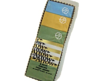 Vintage Mens Handkerchief Arrow Hankies Monogram M Initial NOS - Box of 3
