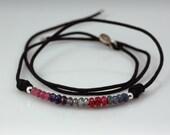 Gemstones, sterling silver and silk cord bracelet - reserved for Mecha