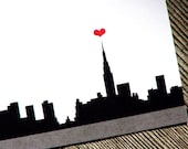 New York City Personalized Stationery With Red Heart - I Love New York Skyline Thank You Notes - NYC Flat Cards - Set of 6