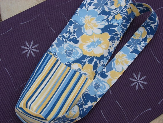 Yoga Mat Bag Carrier in Blue and Yellow Flowers and Stripes, Yoga Mat Tote Bag, Yoga Gym Bag