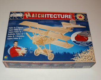 Matchitecture Wooden Fokker Dr 1 Triplane Kit  Number 6610 - Young Adults World War 1 Plane Model Hobbies