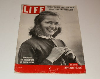 Vintage Life Magazine November 10 1952 - Jean Huston Cover - Coca-Cola ad Scrapbooking Paper Ephemera Vintage Retro Ads