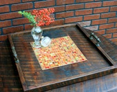 Large Ottoman Tray, Stained Glass Mosaic Tile Centerpiece, Reclaimed Wood, Rustic Contemporary, Dark Brown Finish, 24 x 24 - Handmade