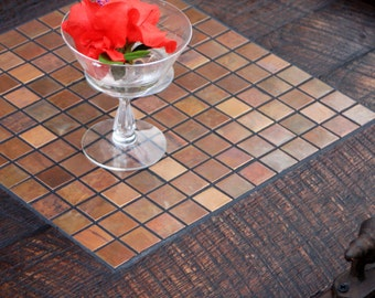 Ottoman Tray. Copper Mosaic Tile Tray. Large Serving Tray. Wood Copper Tray. Copper Mosaic. 24 x 24.  Dark Brown Finish
