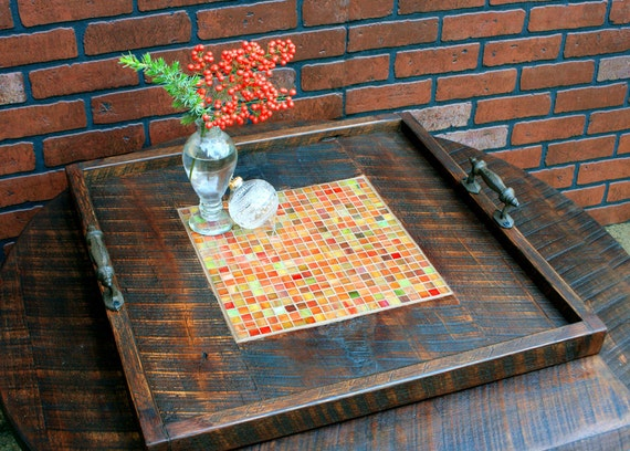 Large ottoman tray stained glass mosaic by