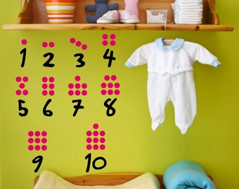Nursery wall decals Numbers for Babies 1 to 10 and fun dots