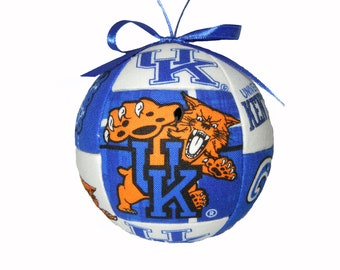 Kentucky Wildcat Handmade Kimekomi Quilted Sports Christmas Ornament Tree Decoration Ready To Ship Holiday Gift by CraftCrazy4U on Etsy
