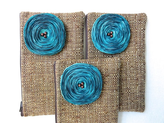 Reserved for Danielle - 3 Chocolate Brown Woven Clutches / Aqua Satin Flowers