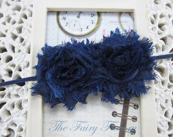 Navy Blue Flower Headband, Navy Blue Chiffon Rosettes Duo  Navy Blue Headband or Hair Clip, Infant Baby Toddler Child Girls Headband