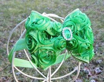 Lime Green Hair Bow - Satin Rosette Hair Bow w/ Crystal Center Headband or Hair Clip - The Virginia - Baby Child Girls Headband