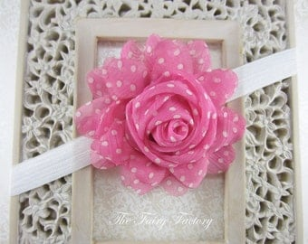 Pink Flower Headband, Pink and White Polka Dot Large Chiffon Rose White Headband or Hair Clip, The Emma, Baby Toddler Child Girls Headband
