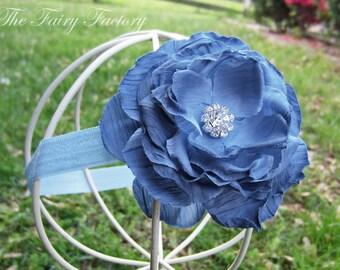 Denim Blue Flower Headband, Blue Rose w/ Rhinestone Center Stretchy Baby Blue Headband or Hair Clip, The Camille, Baby Child Girls Headband