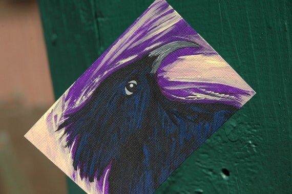 Crow Aceo, Wild And Free, Strong, Majestic, Original Acrylic, Canvas Paper