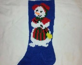 Hand Knitted Mrs. Snowman Stocking