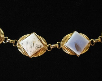 Mid Century Necklace, Ceramic Tiles in Blue and White with Gold