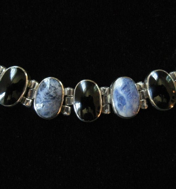 950 Silver Sodalite & Black Onyx Taxco Mexico Sterling Necklace