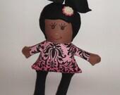 Miss Madi Doll - Handmade Doll pink and black