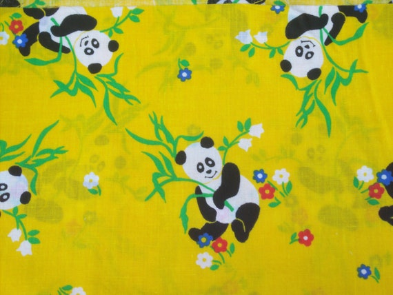 Panda Bear Fabric / Bright Yellow Background / Brand New