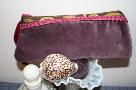 Hand Crafted  By Maggie Purple Velvet Clutch Bag.