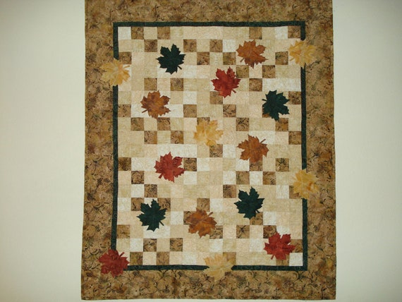 Quilted  Wall Hanging or Lap quilt Batik  Autumn Leaves Black Friday Etsy Cyber Monday Etsy