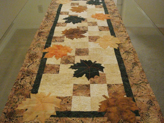 Quilted Table Runner Batik Autumn Leaves