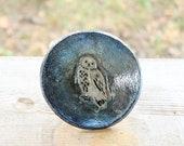 Owl Trinket Dish, bowl, metalic, blue, white
