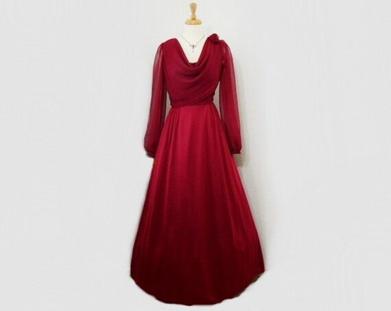 60s Chiffon Dress Burgundy Long Sleeve Full Skirt Formal Wedding Prom Cocktail Party Dressm S/M