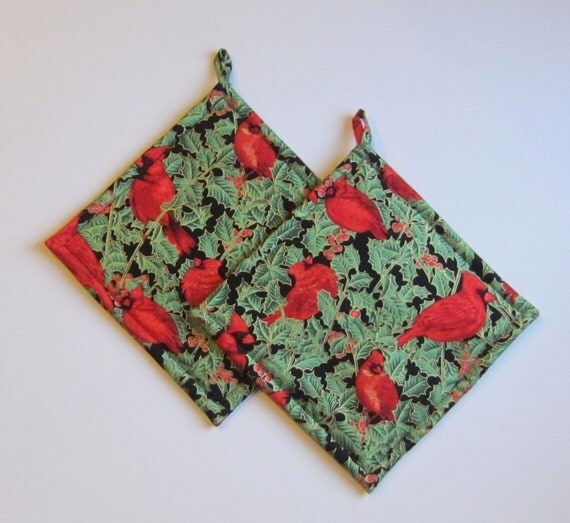 Red Pot Holders: Items Similar To Red Christmas Cardinal Pot Holders Set Of