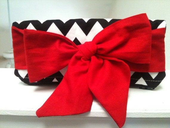 Black white foldover zippered clutch with Bright red tie bow.  Free Shipping.