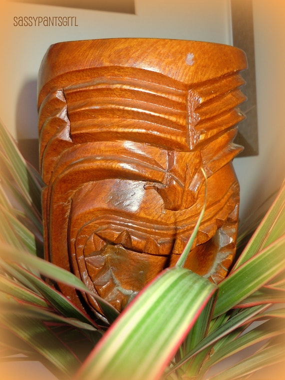 Vintage Large CARVED TIKI MUG -- Hand Carved Monkey Pod Wooden Collectible