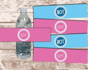 PRINTABLE PDF Gender Reveal Party Baby Shower Water Bottle Label Wrappers