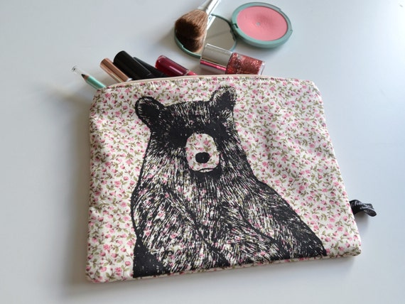 Bear illustration screen printed floral make up bag/clutch - Large