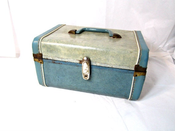 Vintage Cosmetic Case Blue Color